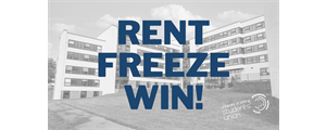 image of university accommodation with rent freeze win in text